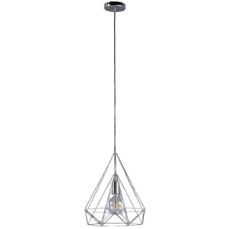 Lámpara colgante Nael cromada, forma de jaula