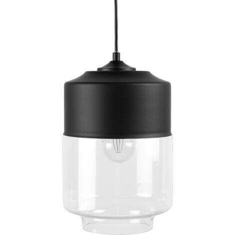 Lámpara colgante negra y cristal transparente JURUA