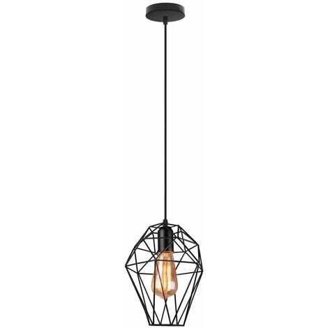 Lámpara Colgante Nido Diamante Jaula de pájaro de Hierro revés Metal Creativo Moderno Luz de Techo Palo Industrial Retro decoracion de Cafe Casa pasillo (Negro)