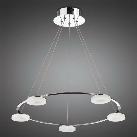 Lámpara colgante Nimbus 5 Bombillas 25W LED 3000K, 2200lm, cromo pulido / acrílico mate