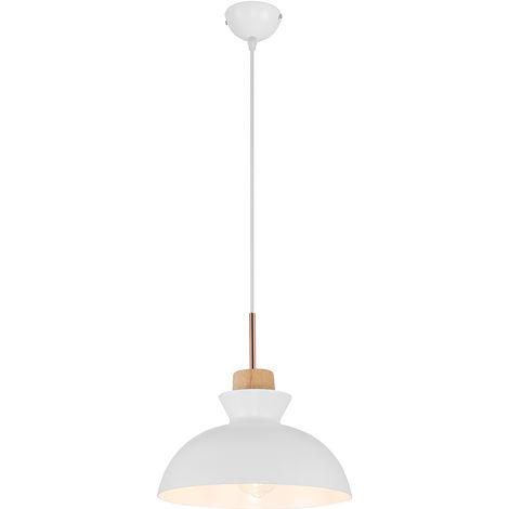 Lámpara colgante NORDICA Blanca metal y madera   Lámparas de