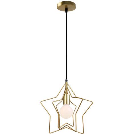 Lámpara Colgante Nórdica Simplicidad Araña de Estrellas Creativas Lámpara de Techo Moderna Pantalla Giratoria para Loft Cafe Gold