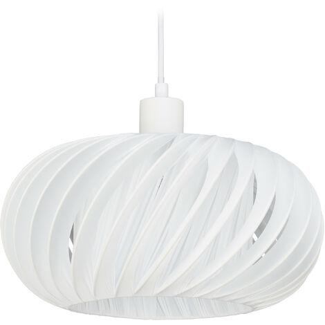 "main image of ""Lámpara colgante, Pantalla redonda, E27, 60W, Plástico, Acero, Ø 31 cm, Blanco"""