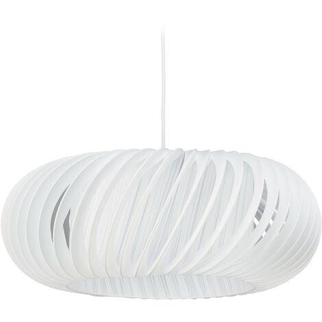 Lámpara colgante, Pantalla redonda, E27, 60W, Plástico, Acero, Ø 51 cm, Blanco