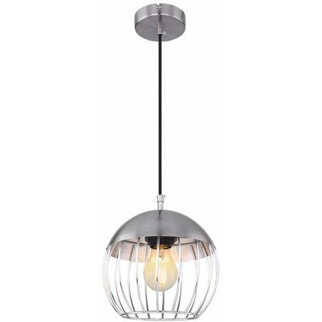 Lámpara colgante péndulo de techo lámpara cromada cable textil níquel mate jaula vintage