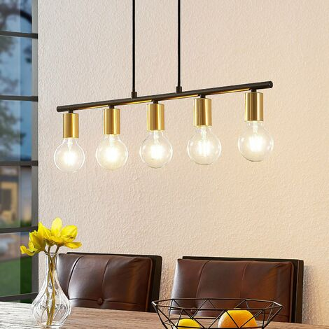 Lámpara colgante 'Peppina' (Vintage) en Negro hecho de Metal e.o. para Salón & Comedor (5 llamas, E27, A++) de Lindby | lámpara colgante, lámpara colgante, lámpara, lámpara de techo, lámpara de techo