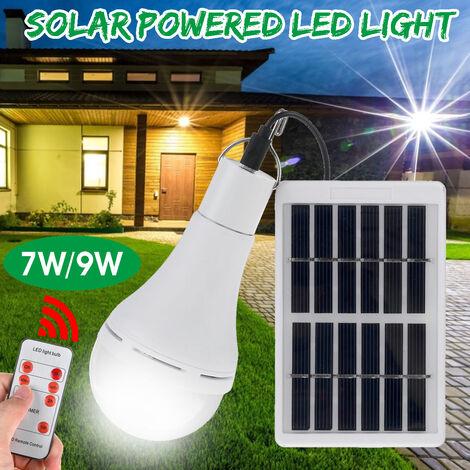 Lámpara colgante portátil con bombilla LED blanca de control remoto con energía solar de 9W (9W Normal)