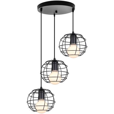 Lámpara Colgante Redonda Antigua Lámpara de Techo de Jaula Industrial Lámpara de Metal de 3 Luces para Cafe Bar Club Negro