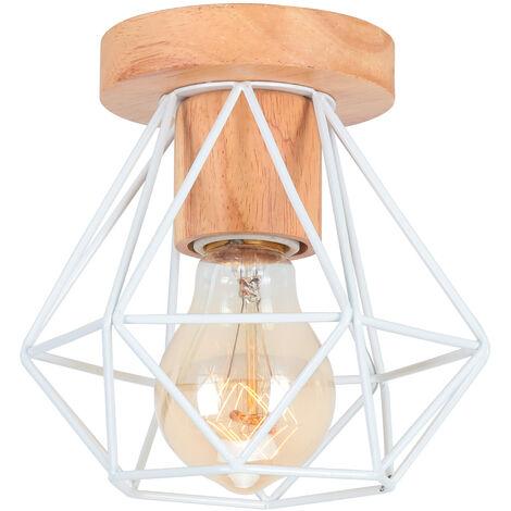 Lámpara Colgante Redonda Antigua Lámpara de Techo de Jaula Industrial Lámpara de Metal para Cafe Bar Club Blanco E27