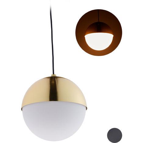 Lámpara colgante redonda, Diseño moderno, Iluminación de techo, Metal & Cristal, ∅25 cm, 1 Ud., Dorado