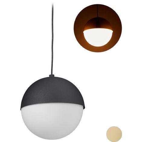 Lámpara colgante redonda, Diseño moderno, Iluminación de techo, Metal & Cristal, ∅25 cm, 1 Ud., Negro