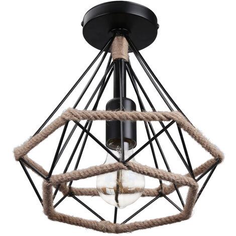 Lámpara Colgante Retro Diamante 25cm Lámpara de Techo de Cuerda de Cáñamo Negra Pantalla de Arte de Hierro para Dormitorio Tipo Loft