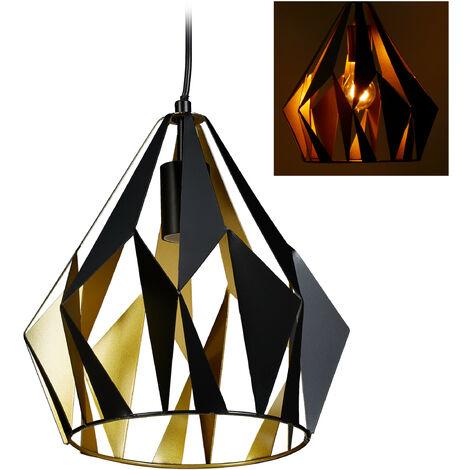 Lámpara colgante, Retro, Industrial, Forma de diamante, Techo, E27, 140 x 27 cm, Negro