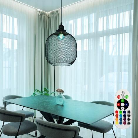 Lámpara colgante RETRO, lámpara de techo, jaula, sala de estar, REGULABLE en un juego que incluye bombillas LED RGB