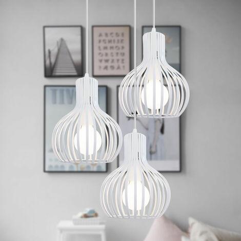 Lámpara Colgante Retro Luz Colgante Creativa Altura Ajustable 3 Luces Lámpara de Techo Industrial Antigua E27 Blanco