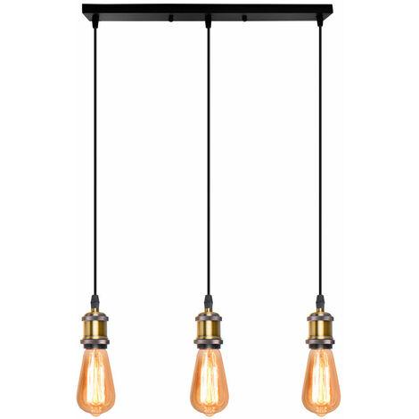 Lámpara Colgante Retro Vintage Colgante de Luz Estilo Simple Candelabro Enchufe E27 Loft Bar Lámpara de Techo para Cafe Office Bronce
