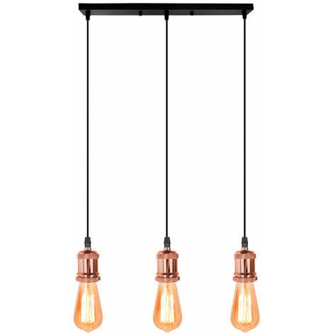 Lámpara Colgante Retro Vintage Colgante de Luz Estilo Simple Candelabro Enchufe E27 Loft Bar Lámpara de Techo para Cafe Office Oro Rosa