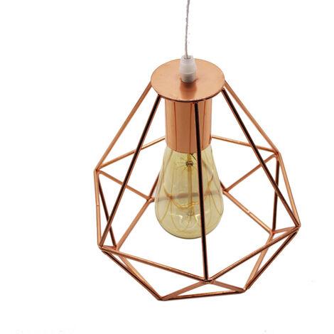 Lámpara Colgante Retro Vintage Luz Colgante 20CM Diamond Colgante de Luz Industrial Lámpara Colgante de Altura Ajustable para Comedor Oficina Oro Rosa