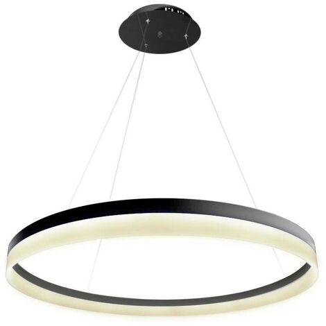 Lámpara colgante RING 73W, negro, Triac regulable, Ø100cm, Blanco neutro, regulable