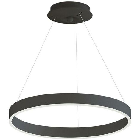 Lámpara colgante RINGEND 38W, negro, Triac regulable, Ø60cm, Blanco neutro, regulable
