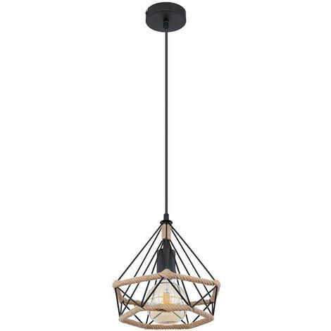 Lámpara colgante rústica lámpara de salón vintage lámpara de techo de estilo rústico colgante salón negro, jaula en forma de diamante cuerda de cáñamo, 1x E27, DxH 25x150 cm