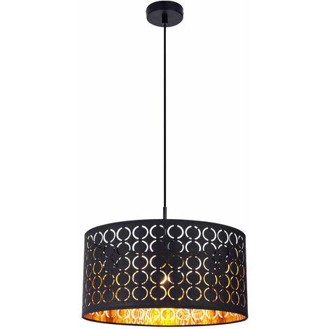 Lámpara colgante salón comedor iluminación colgante textil plafón BLACK GOLD Globo 15329H
