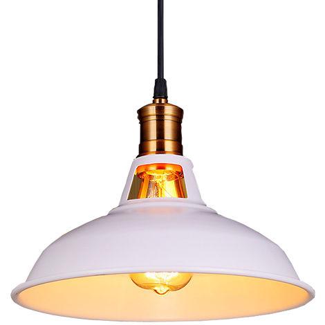 Lampara Colgante Semicircular Sombra Metal Retro Industrial Nórdico Luz de Techo Forma Hemisferio para Comedor Cocina Hotel blanco