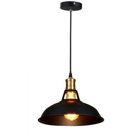 Lampara Colgante Semicircular Sombra Metal Retro Industrial Nórdico Luz de Techo Forma Hemisferio para Sala Comedor Cocina Hotel negro