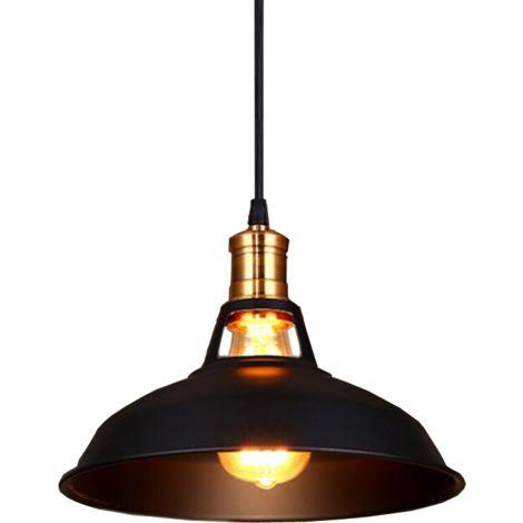 Lampara Colgante Semicircular Sombra Metal Retro Industrial Nórdico Luz de Techo Forma Hemisferio para Sala Comedor Cocina negro