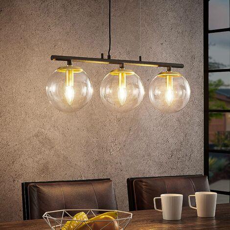 Lámpara colgante 'Sotiana' (Vintage) en Negro hecho de Vidrio e.o. para Salón & Comedor (3 llamas, E14, A++) de Lucande | lámpara colgante de diseño, lámpara colgante, lámpara, lámpara de techo