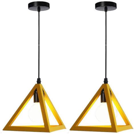 Lámpara Colgante Triangular Colgante de Luz Clásica Amarillo Antigua Lámpara de Araña Metal Retro para Dormitorio Bar Loft (2x)