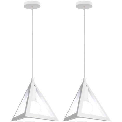 Lámpara Colgante Triangular Colgante de Luz Clásica Blanco Antigua Lámpara de Araña Metal Retro para Dormitorio Bar Loft (2x)