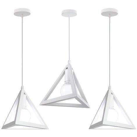 Lámpara Colgante Triangular Colgante de Luz Clásica Blanco Antigua Lámpara de Araña Metal Retro para Dormitorio Bar Loft (3x)