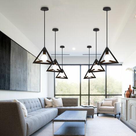 Lámpara Colgante Triangular Colgante de Luz Clásica Negra Antigua Lámpara de Araña Metal Retro para Dormitorio Bar Loft (3x)
