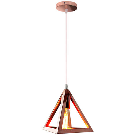 Lámpara Colgante Triangular Colgante de Luz Clásica Oro Rosa Antigua Lámpara de Araña Metal Retro para Dormitorio Bar Loft