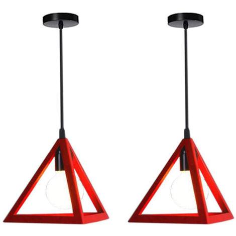 Lámpara Colgante Triangular Colgante de Luz Clásica Rojo Antigua Lámpara de Araña Metal Retro para Dormitorio Bar Loft (2x)
