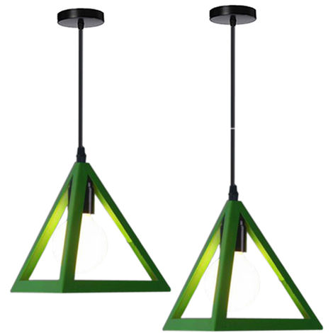 Lámpara Colgante Triangular Colgante de Luz Clásica Verde Antigua Lámpara de Araña Metal Retro para Dormitorio Bar Loft (2x)