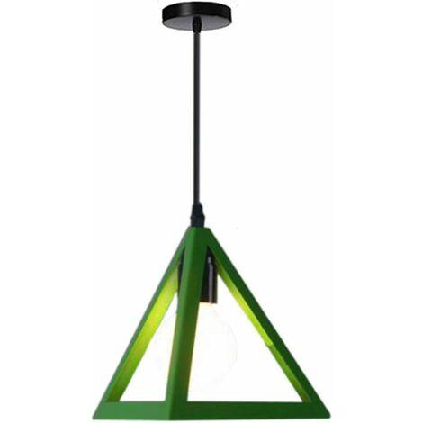 Lámpara Colgante Triangular Colgante de Luz Clásica Verde Antigua Lámpara de Araña Metal Retro para Dormitorio Bar Loft