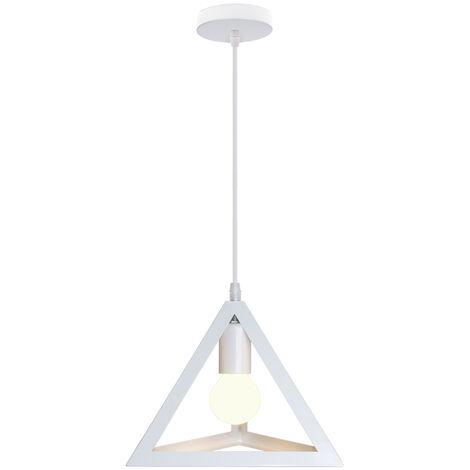 Lampara Colgante Triángulo de Hierro Creativo Industrial Metal Hueco 25cm Piramide Cono Luz de Techo Moderno Decoracion Para Cocina Restaurante Cafe Sala de estar (Blanco)