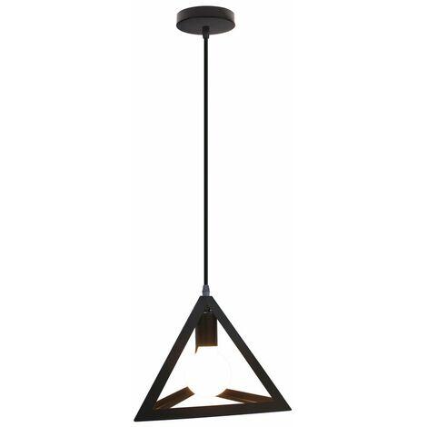 Lampara Colgante Triángulo de Hierro Creativo Industrial Metal Hueco 25cm Piramide Cono Luz de Techo Moderno Decoracion Para Cocina Restaurante Cafe Sala de estar (Negro)