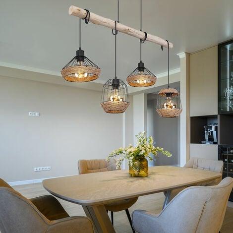 Lámpara colgante vigas de madera lámpara colgante cuerda de cáñamo diseño retro jaula de madera lámpara de comedor colgante 4 llamas, cable negro, 4x E27, L x An x Al 105x21x120 cm