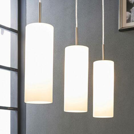 Lámpara colgante Vinsta, 3 llamas, vidrio blanco