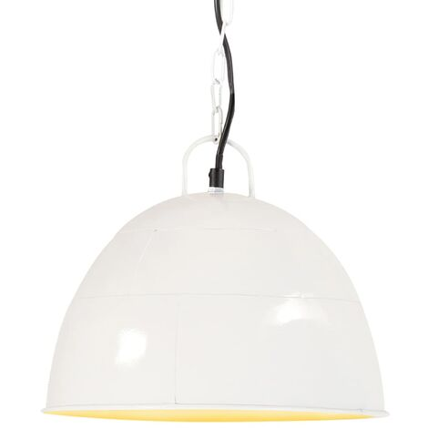 Lámpara colgante vintage 25 W blanca redonda 31 cm E27