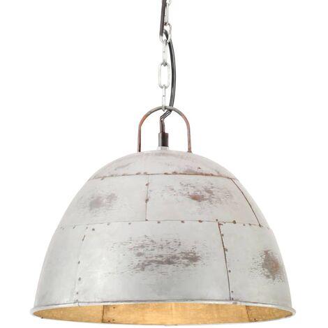 Lámpara colgante vintage 25 W plateada redonda 31 cm E27