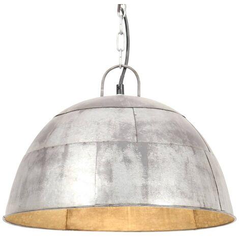 Lámpara colgante vintage 25 W plateada redonda 41 cm E27
