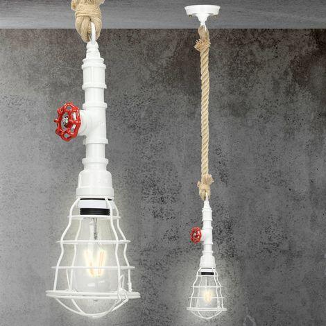 Lámpara colgante vintage bombilla techo tubo decorativa restaurante marino E27