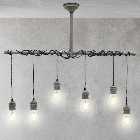 Lámpara colgante vintage bombillas de techo 6x decorativa salón loft retro E27