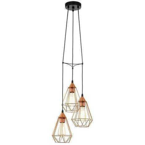 Lámpara colgante vintage con jaula de cobre tres puntos de luz 220-240 V IP20   rame