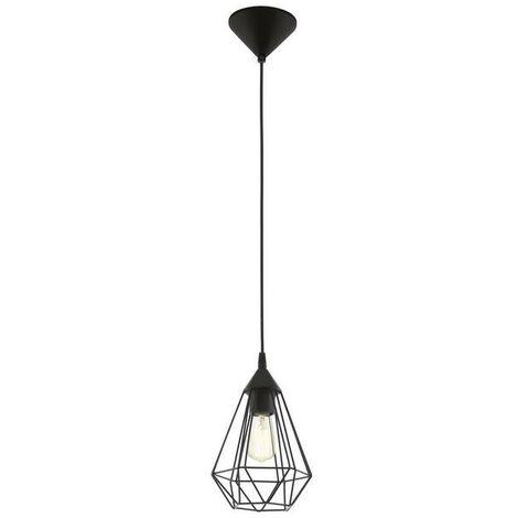 Lámpara colgante vintage con jaula de metal negro 220-240 V IP20   negro