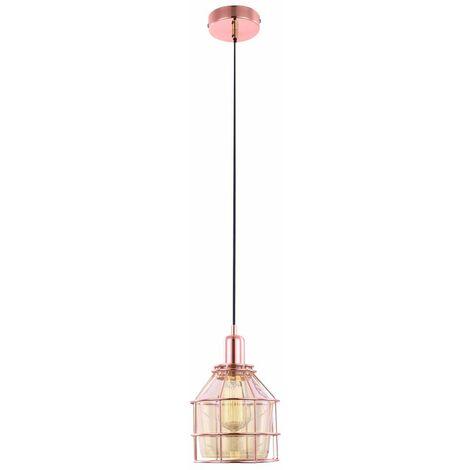 Lámpara colgante vintage de cobre, salón, techo, lámpara colgante, iluminación de cristal Globo 15146